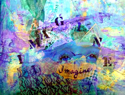 Imagine, an original collage by Ann Bell